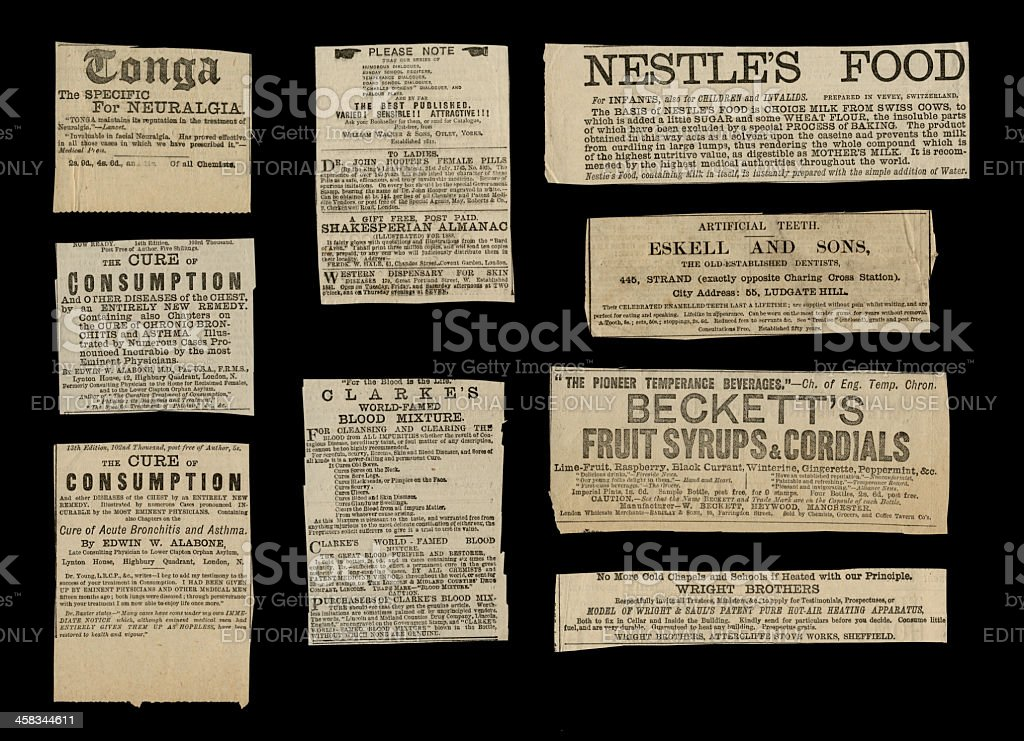 Small ads from 1887 royalty-free stock photo