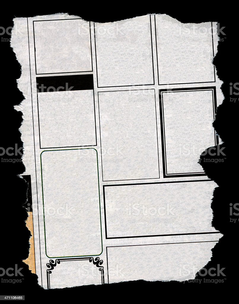 Small ads on black stock photo