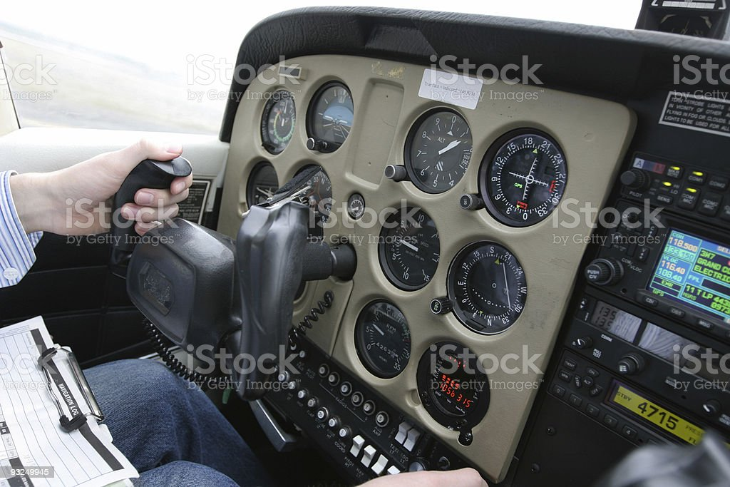 Small aircraft cockpit in flight royalty-free stock photo