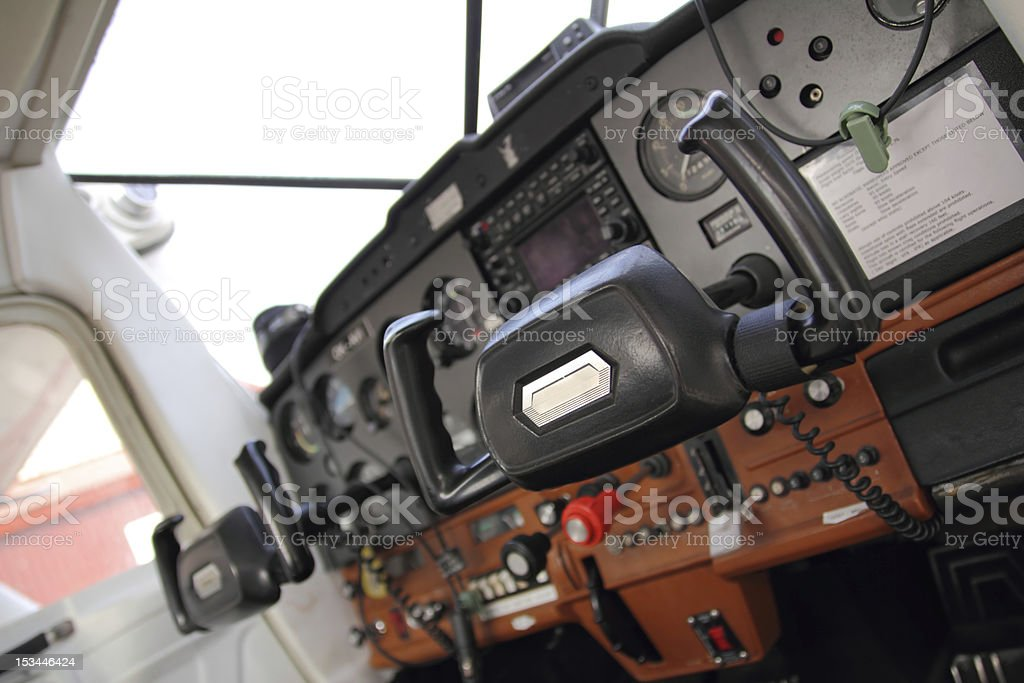 Small aircraft cockpit stock photo