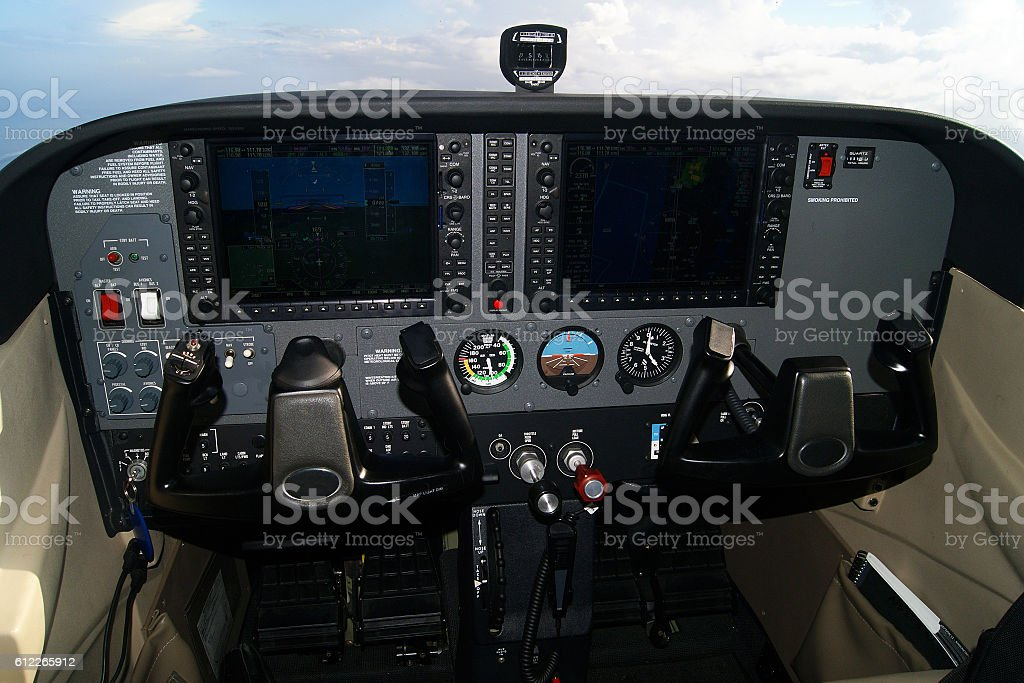 Small airplane modern glass cockpit stock photo