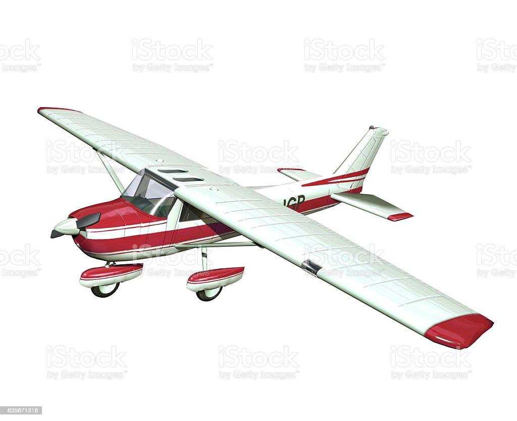 small airplane on white background stock photo