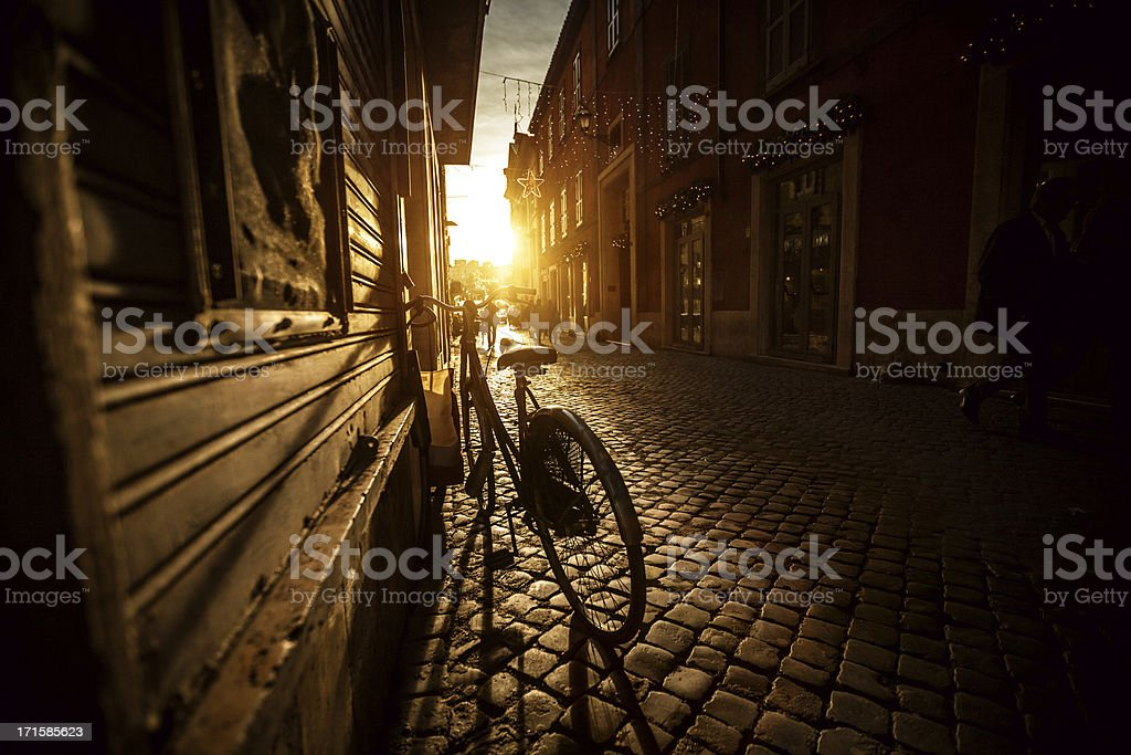 Small Alley in the Center of Rome stock photo