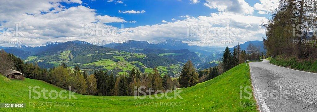 Small alpine road near Klausen, Trentino, Italy stock photo