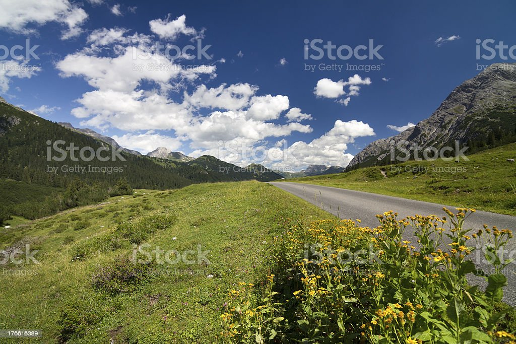 Small Alpine Road royalty-free stock photo