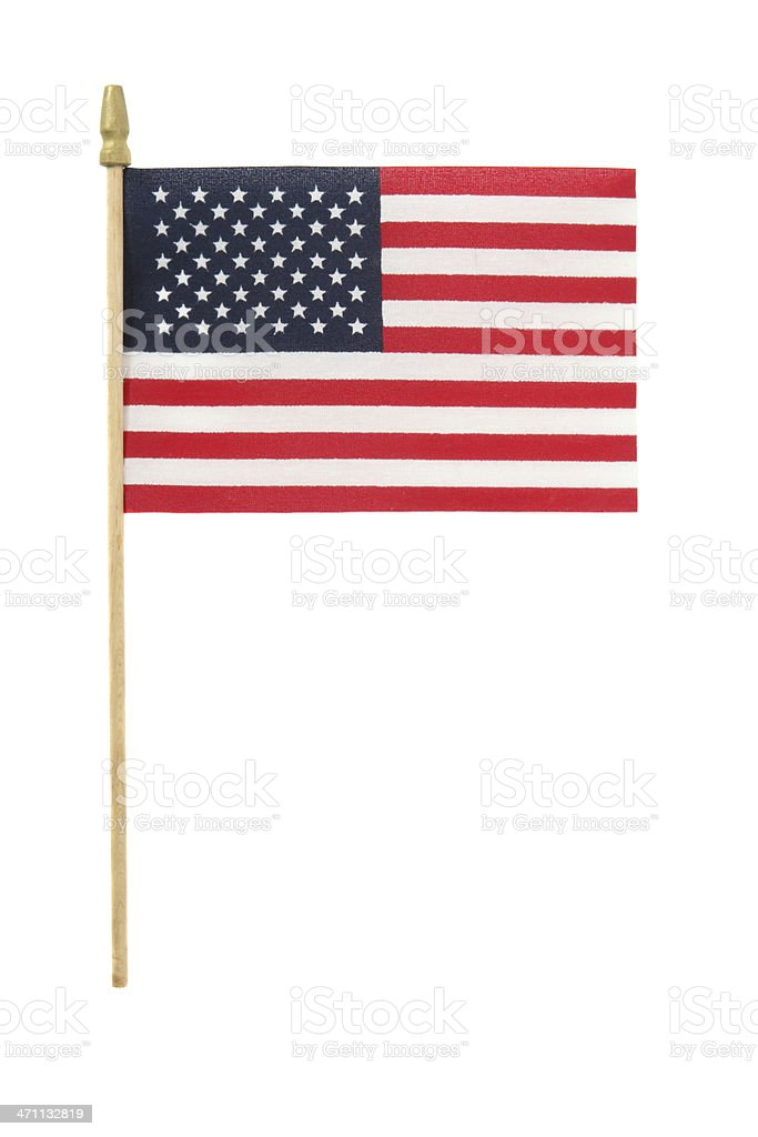 Small American flag on plastic stick on white background stock photo