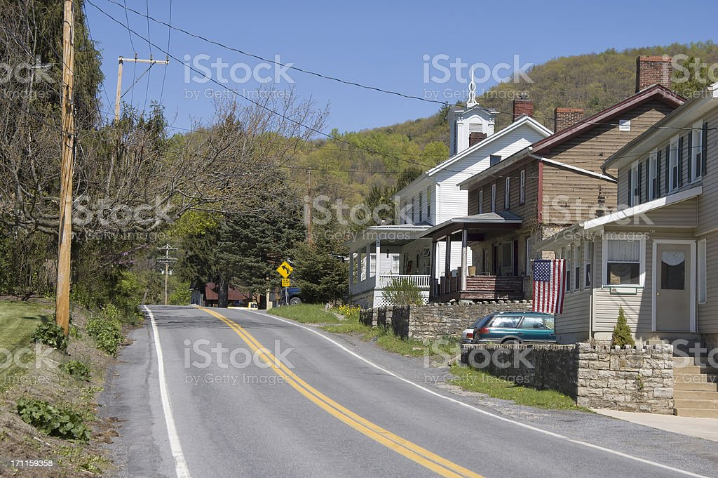 Small American Village Main Street, Appalachian Mountains in Pennsylvania royalty-free stock photo
