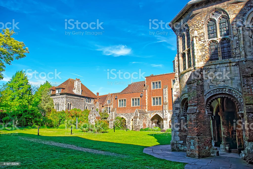 Small ancient houses next to Canterbury Cathedral in Canterbury stock photo