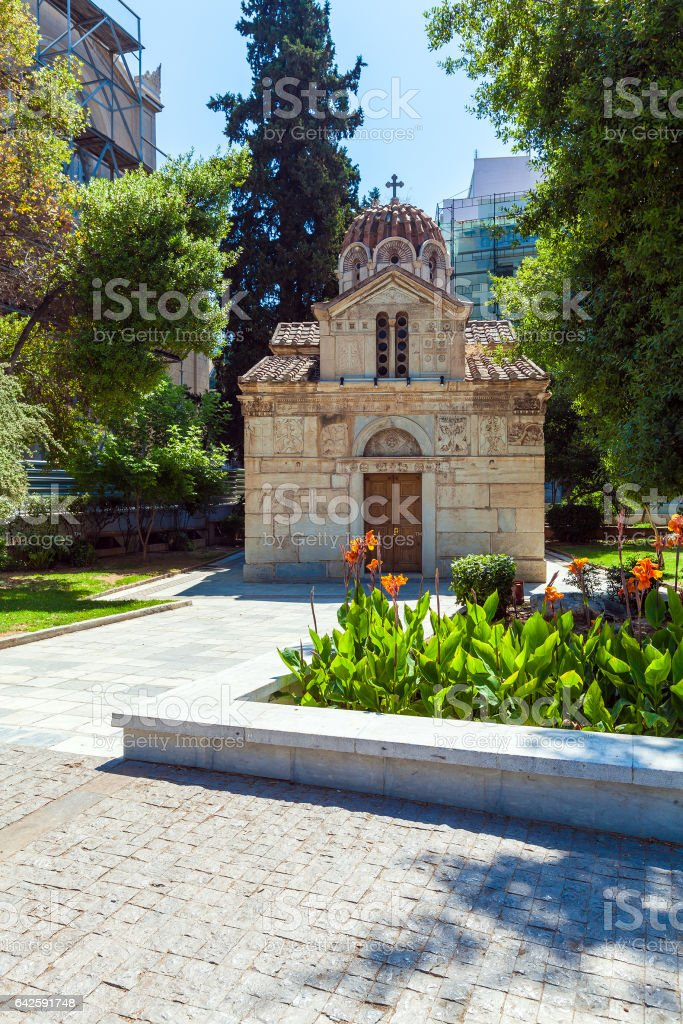 Small Ancient Orthodox church, Athens stock photo