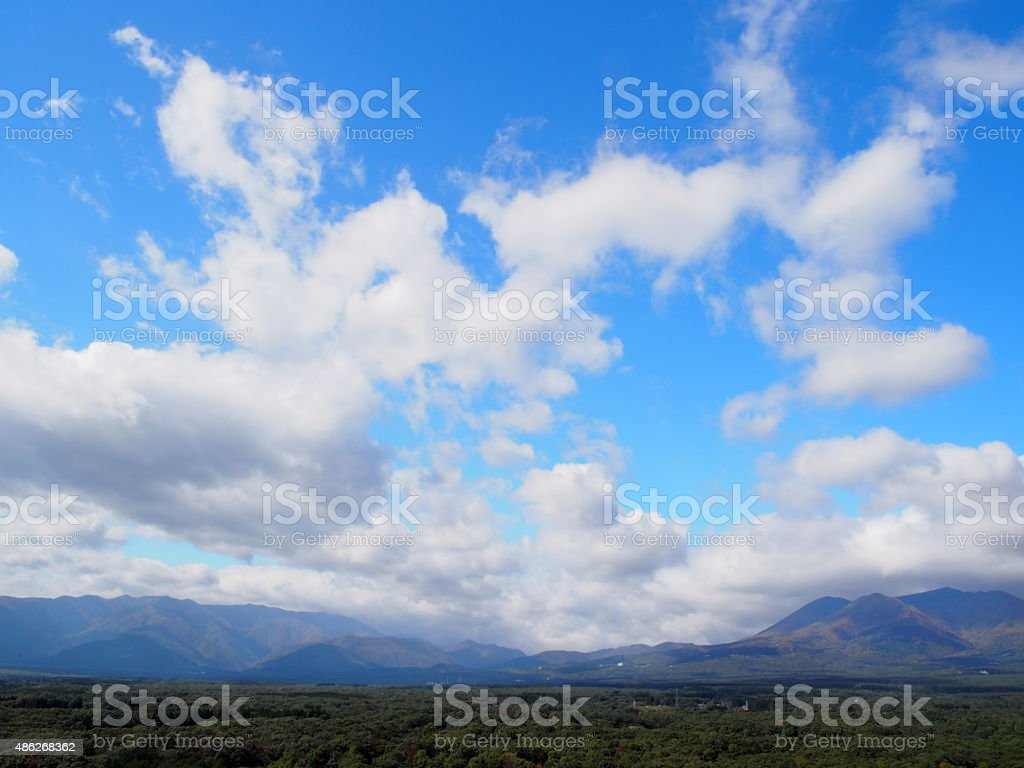 Small and Large Scattered Clouds Passing Overhead stock photo
