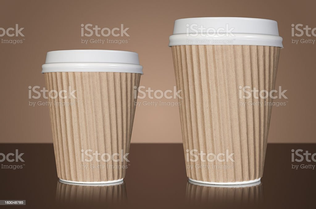 Small and large takeaway coffee royalty-free stock photo