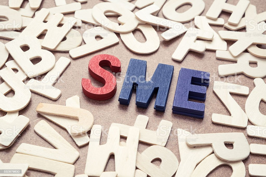 SME - Small and Medium Exterprise wording stock photo