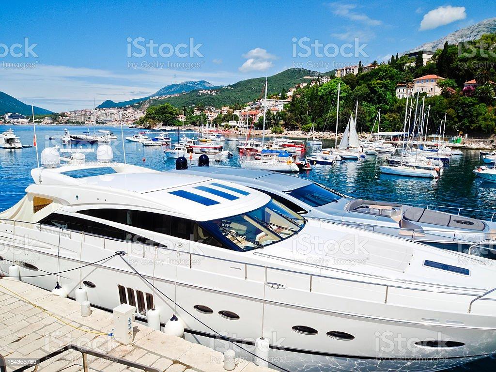 Small and medium yachts, bay and marina, Herceg Novi, Montenegro stock photo