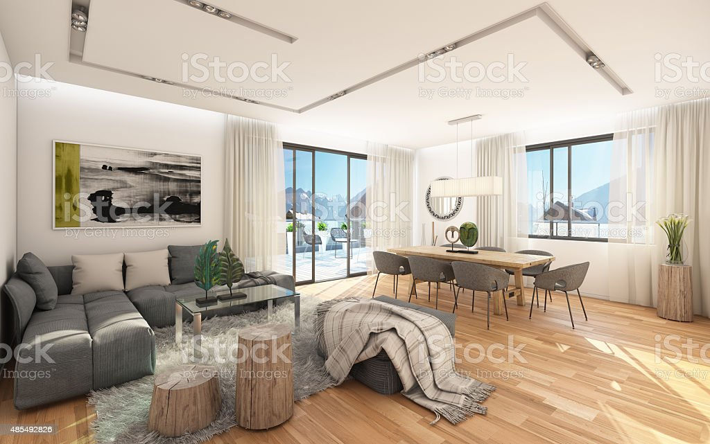 Small Apartment With A View To Mountains stock photo