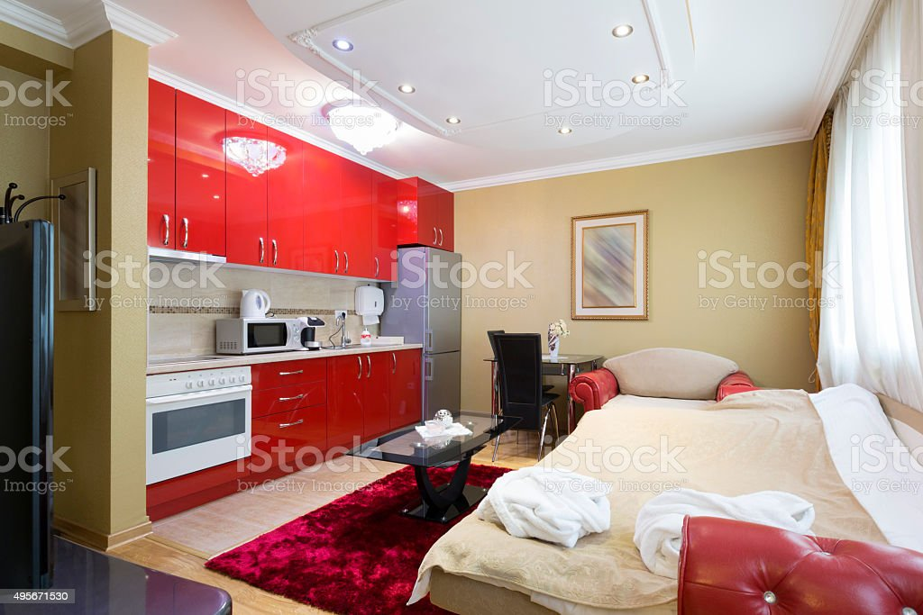Small apartment with bedroom and kitchen