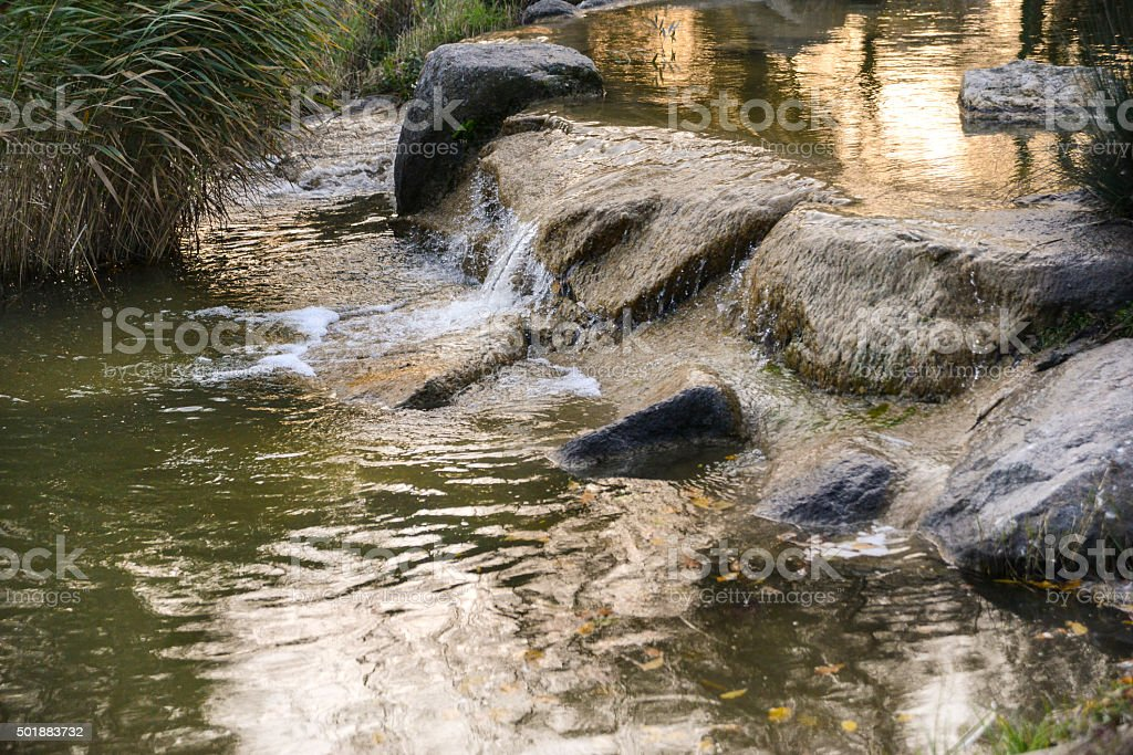 Small Artificial Waterfall stock photo