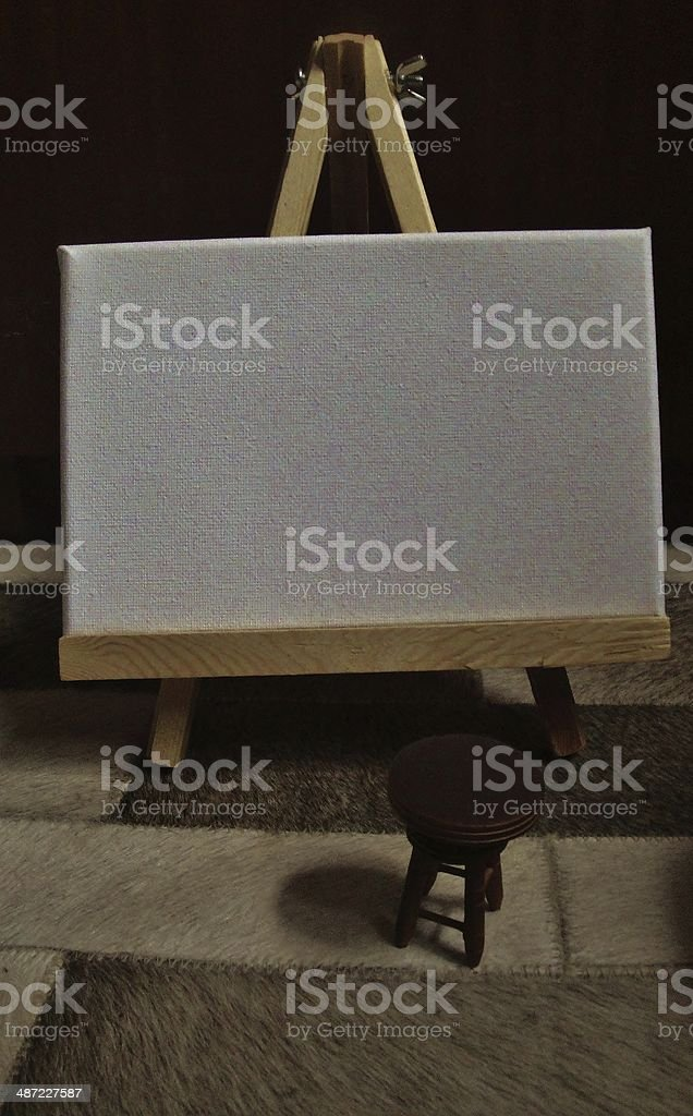 Small Artist's Easel with Stool stock photo