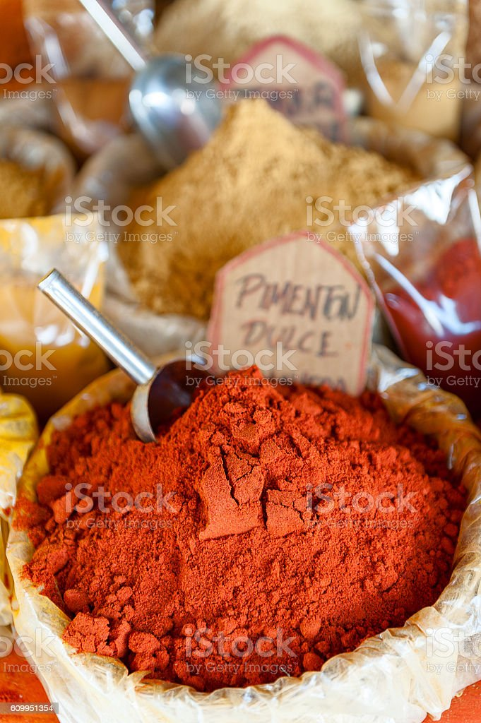 small bag of powdered spices saturated color stock photo