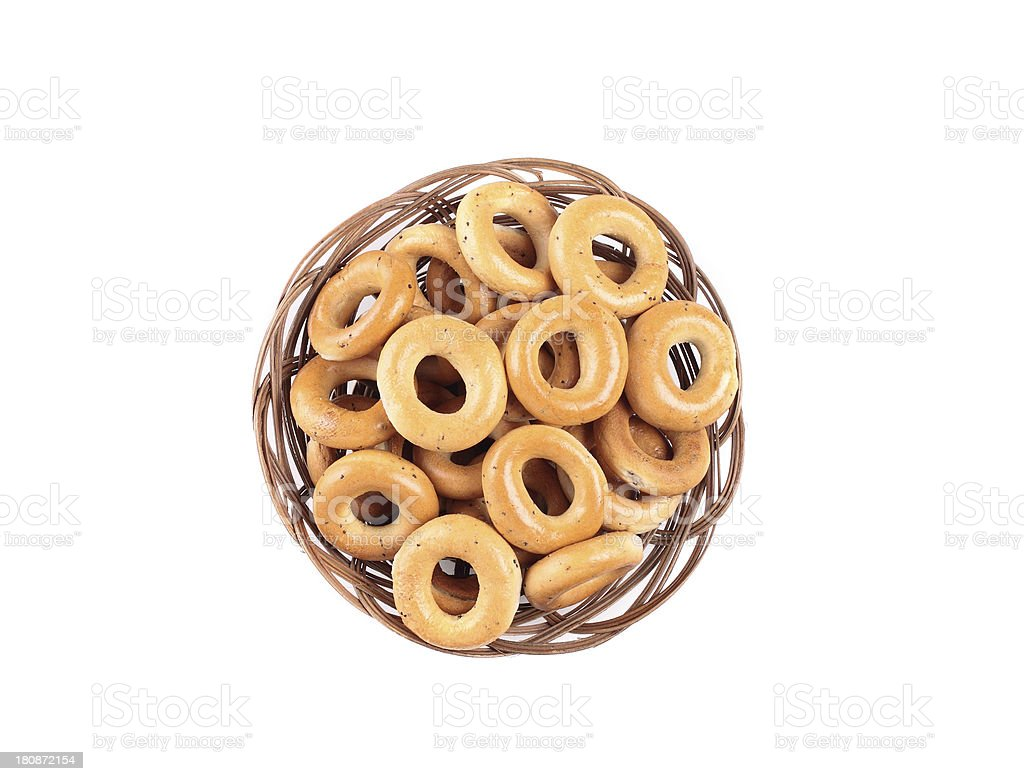 small bagels in basket royalty-free stock photo