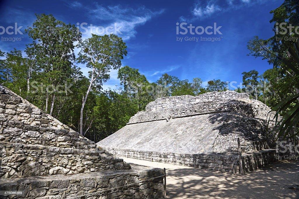 small ballcourt for the old mayan game 'pok-ta-pok', Coba, Mexico stock photo