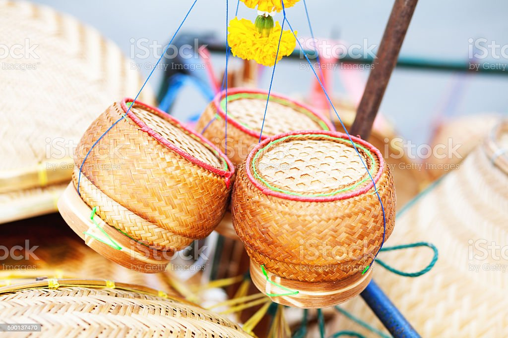 Small bamboo baskets for sticky rice stock photo