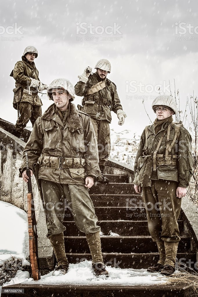 Small Band of Brothers - WWII Military stock photo