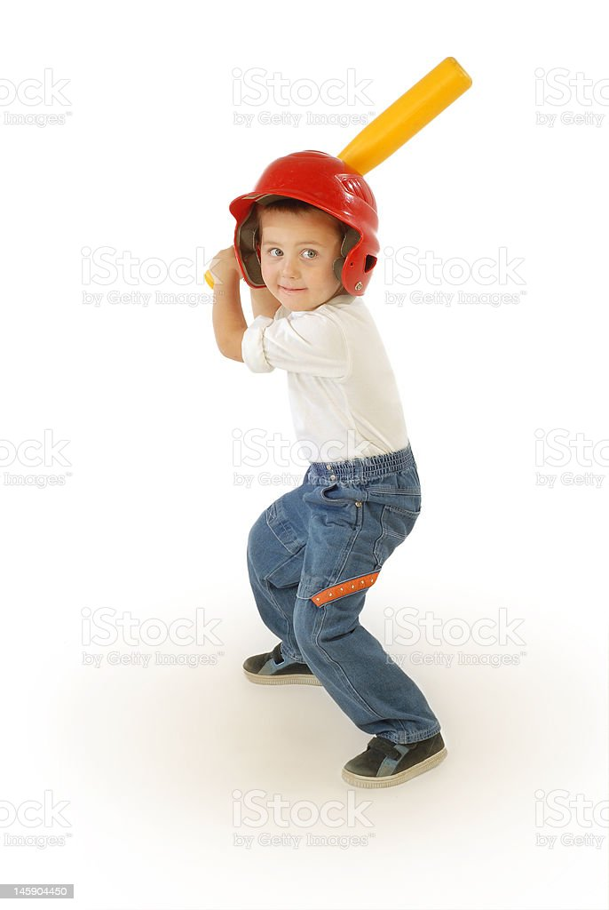 Small baseball player stock photo