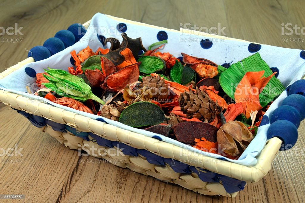 Small basket with flowers and plants. stock photo