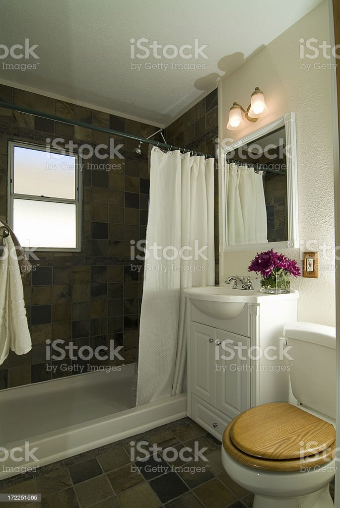Small Bathroom with Slate Tile royalty-free stock photo