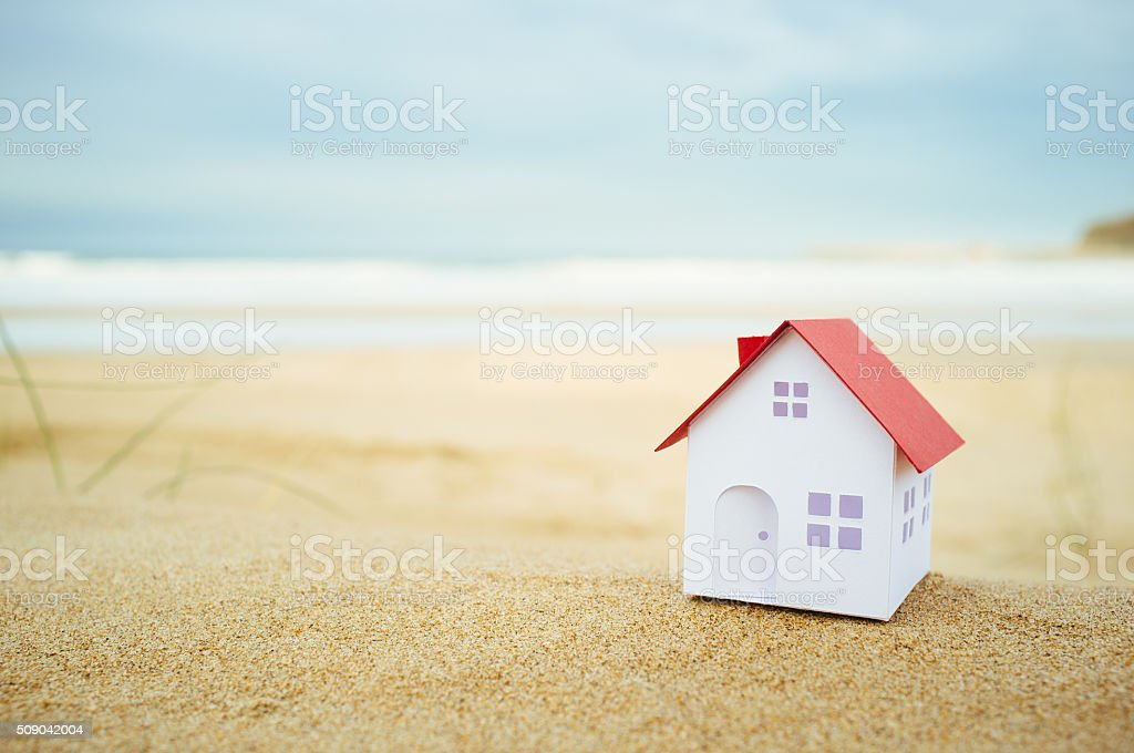 Small beach house stock photo