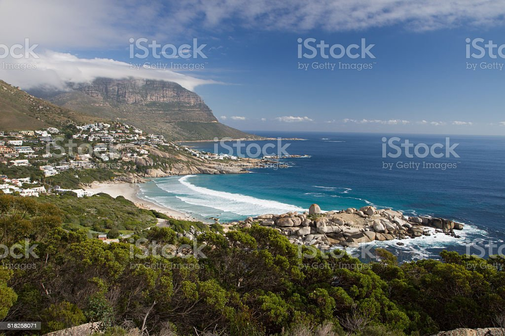 Small beautiful beach front stock photo