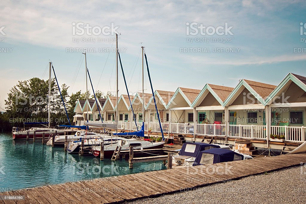Small beautiful summer cottage on the Neusiedler See lake stock photo
