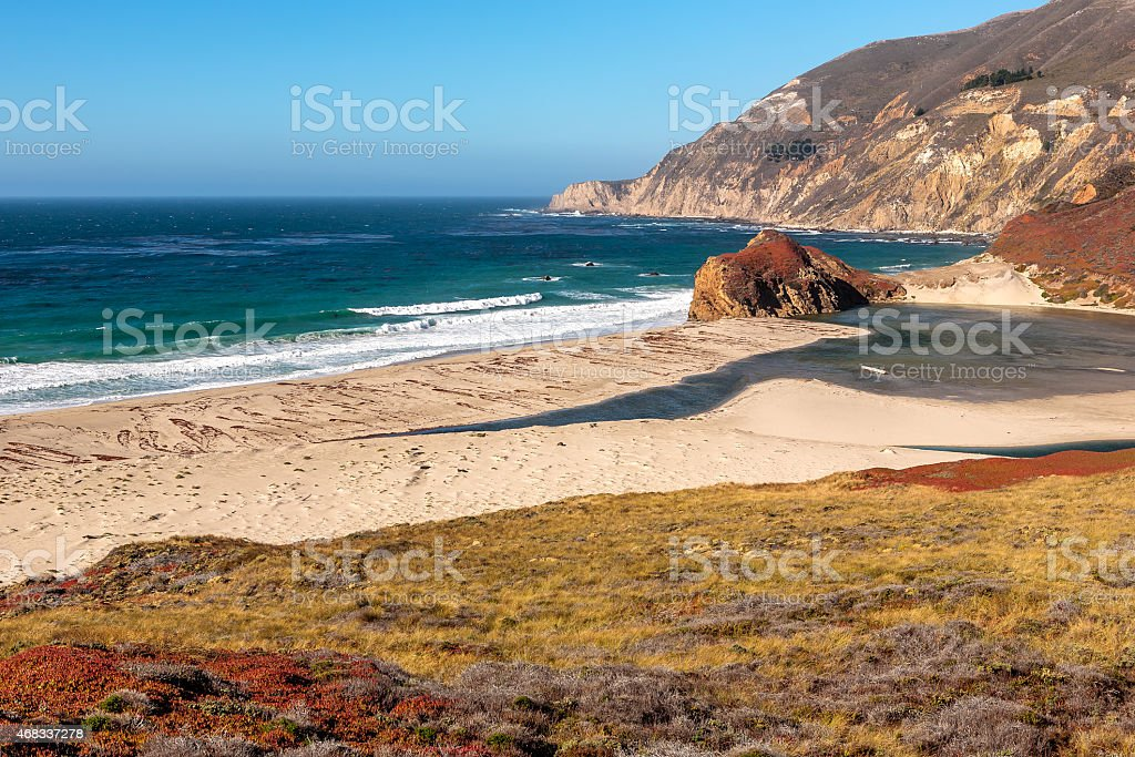 Small Big Sur beach in a sunny day stock photo