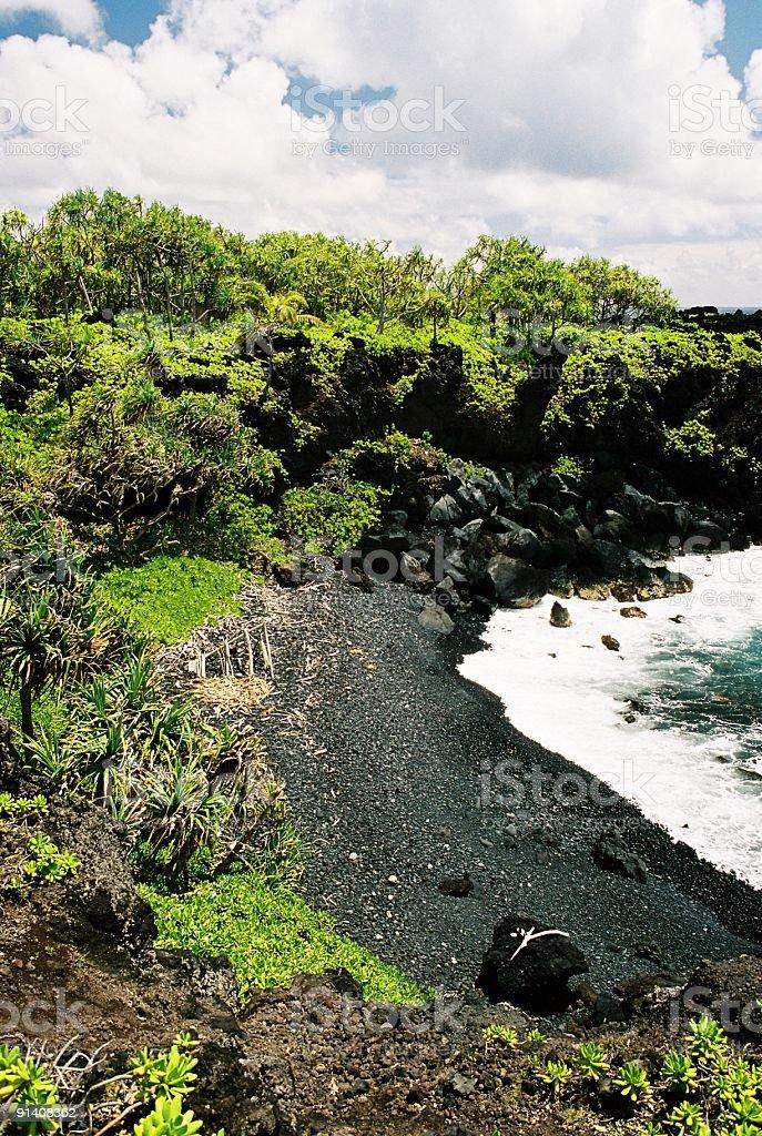 Small black sand beach stock photo