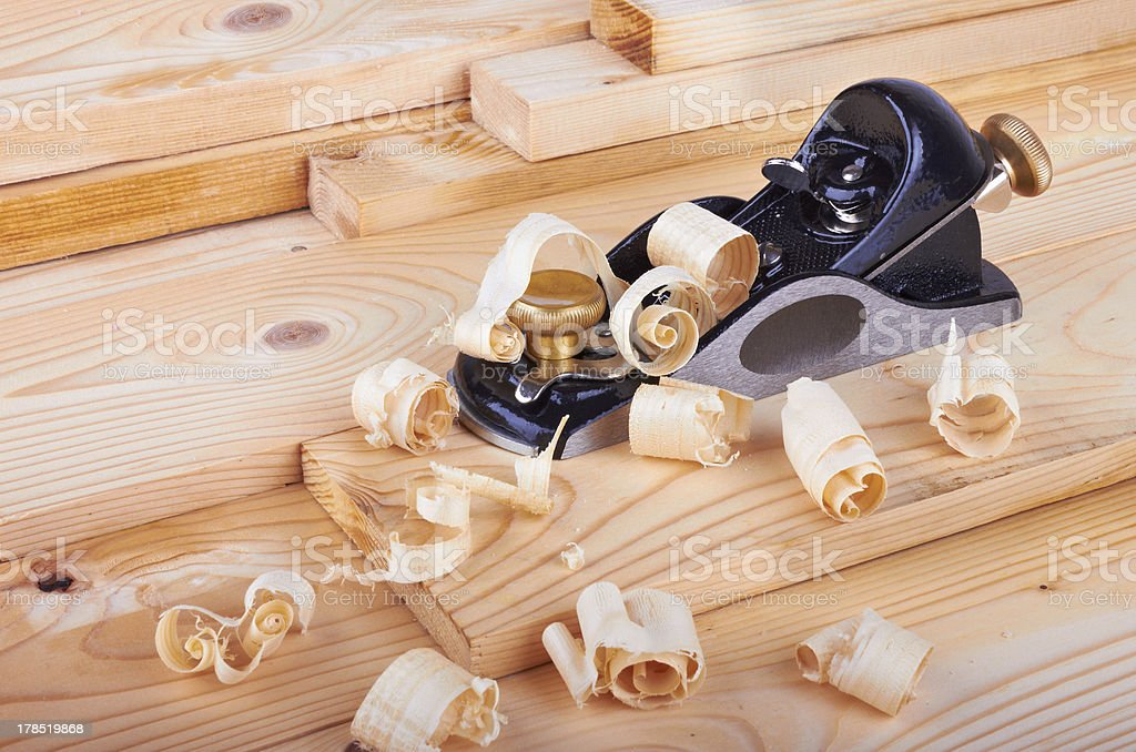 Small Block Plane and Wood with shavings royalty-free stock photo