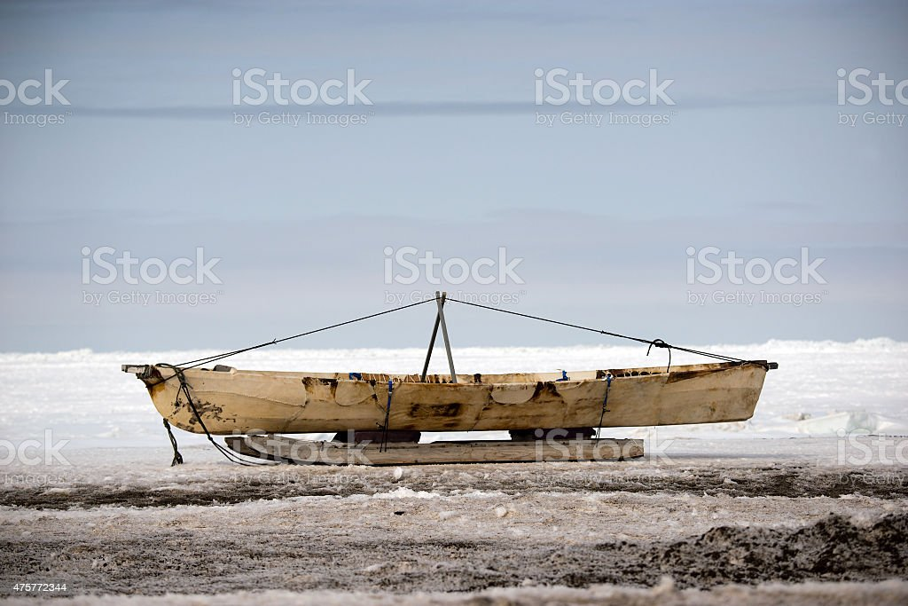Small Boat - Chukchi Sea - Barrow, Alaska stock photo