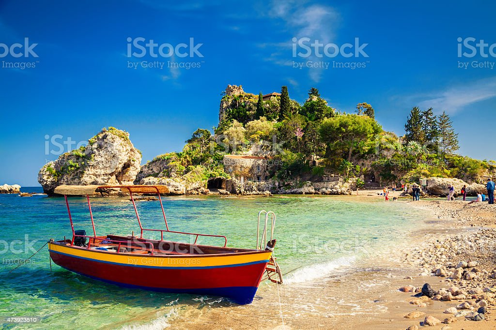small boat for excursion stock photo