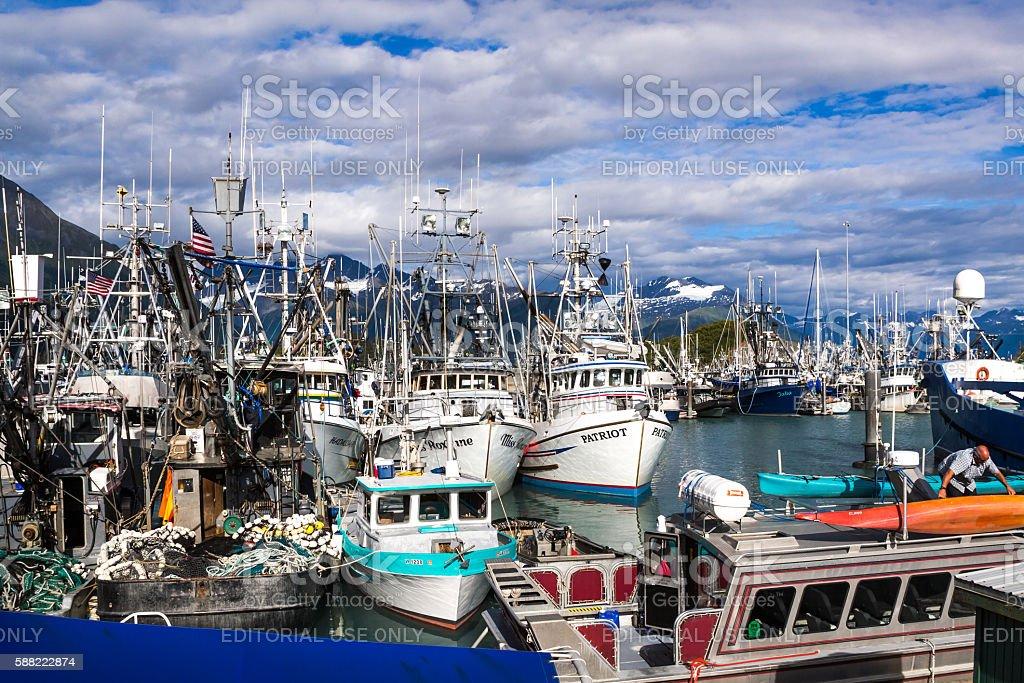 Small boat harbor stock photo