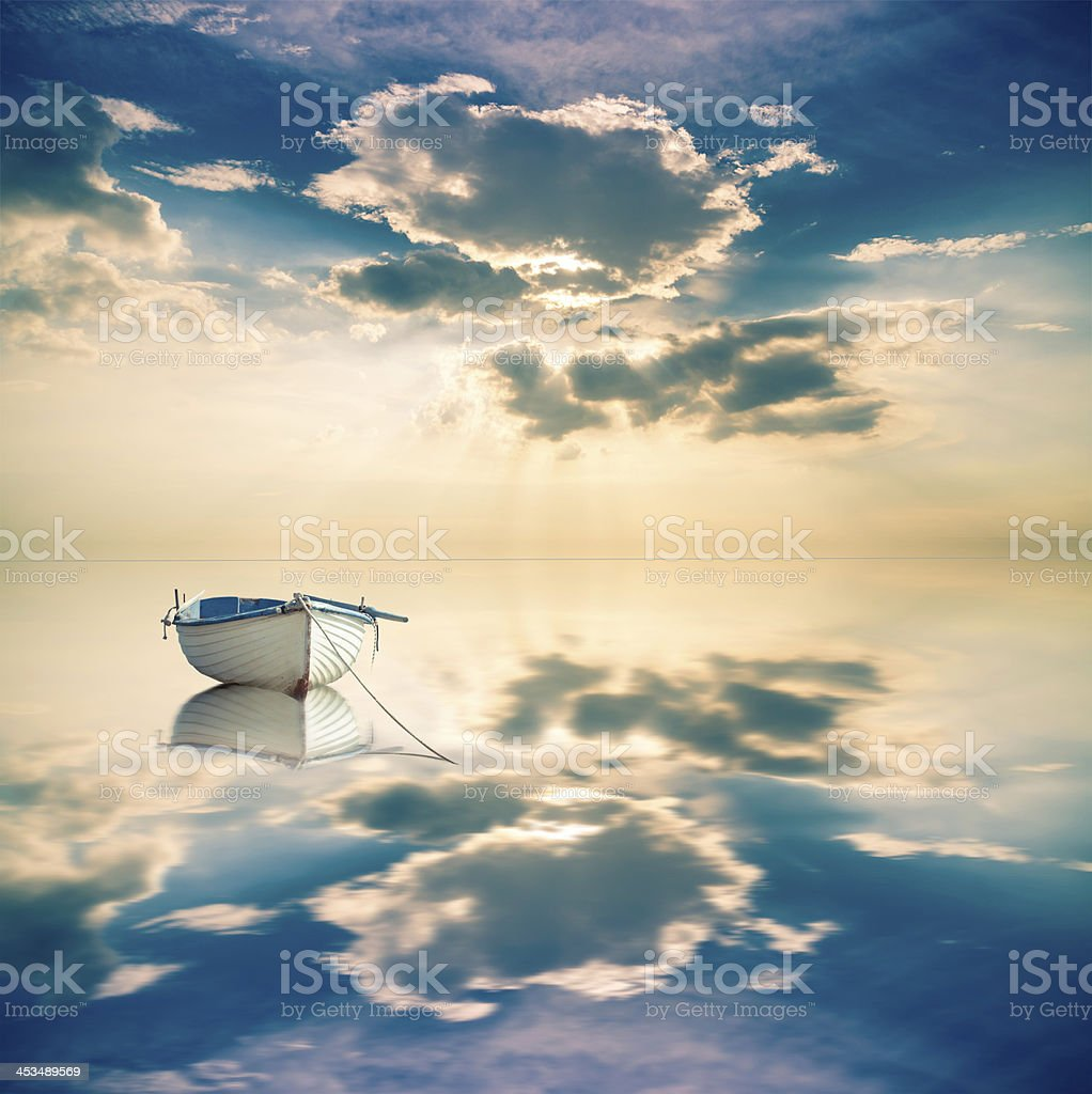 Small boat in idyllic place royalty-free stock photo