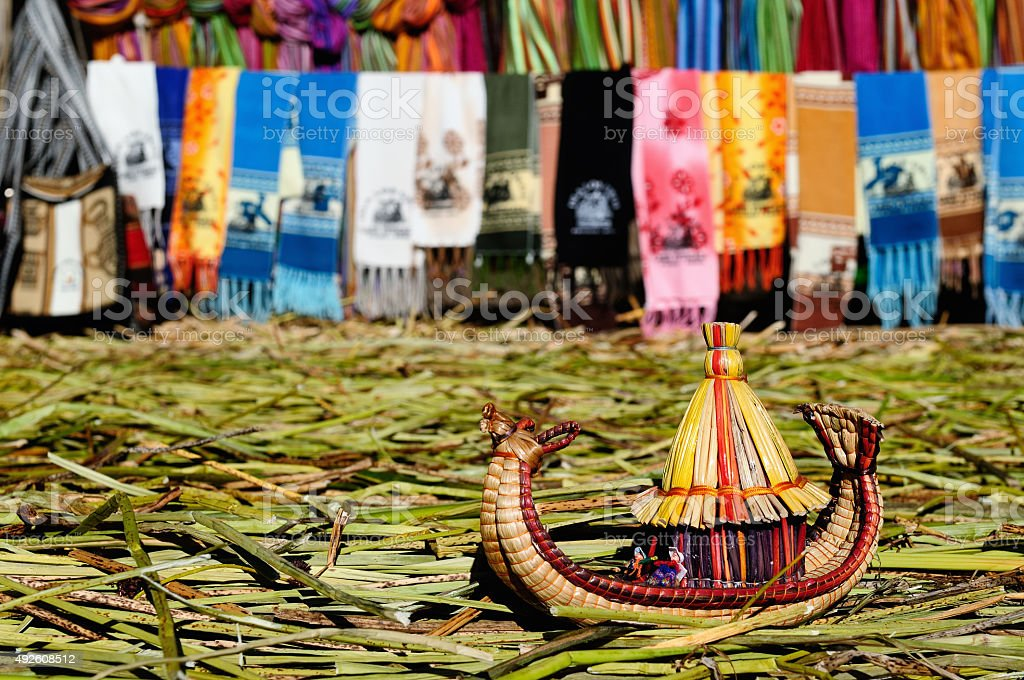Small boat made from grass totora reeds, Titicaca lake, Peru stock photo