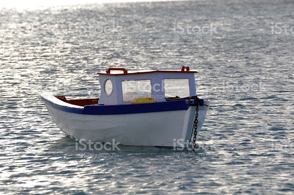 Small Boat off the Pristine Waters of Aruba royalty-free stock photo