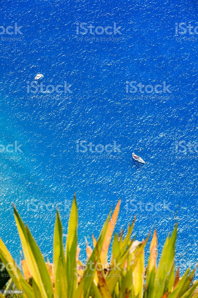 small boat on the Atlantic Ocean seen from Cabo Girao stock photo