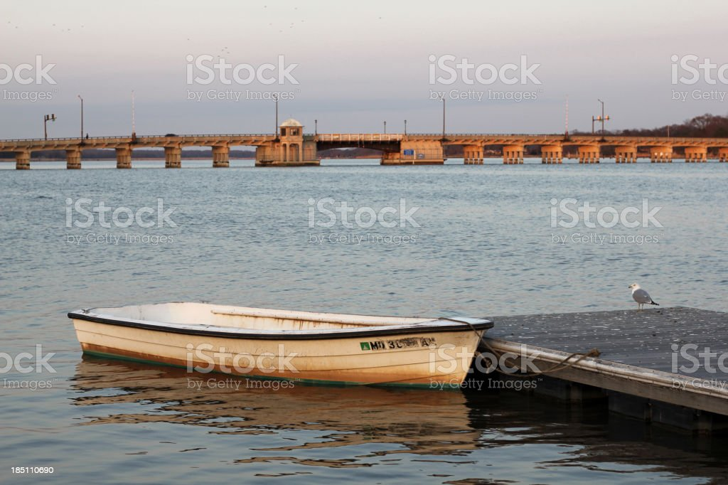Small Boat on the Chester stock photo