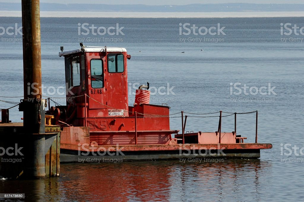 Small boat on the docks of Lake Winnebago stock photo