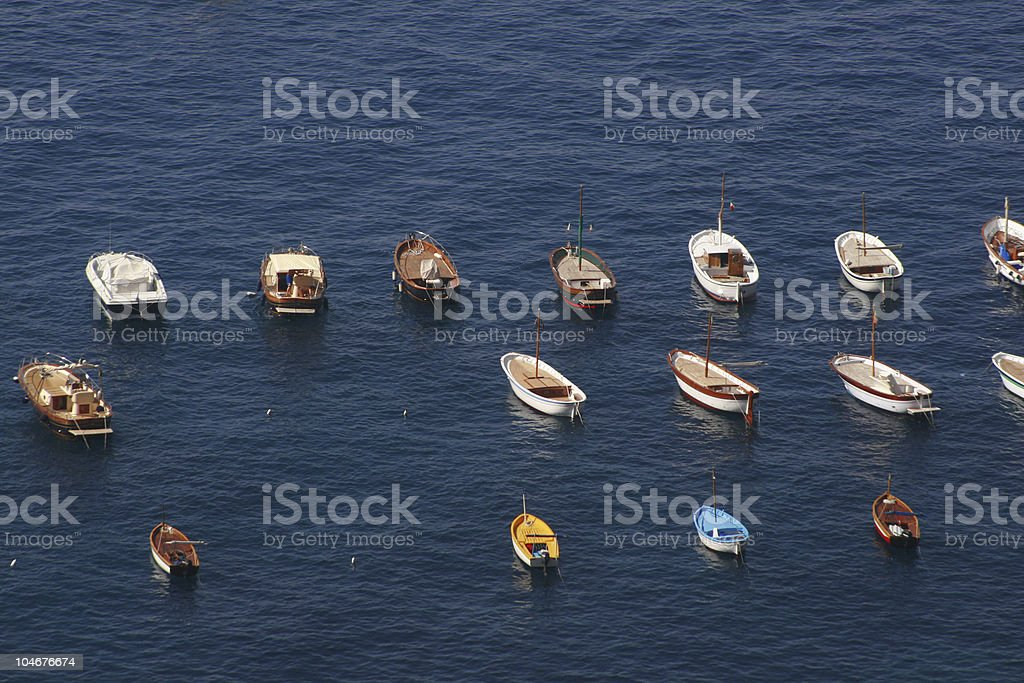 Small Boats Anchored in the Mediterranean Sea royalty-free stock photo