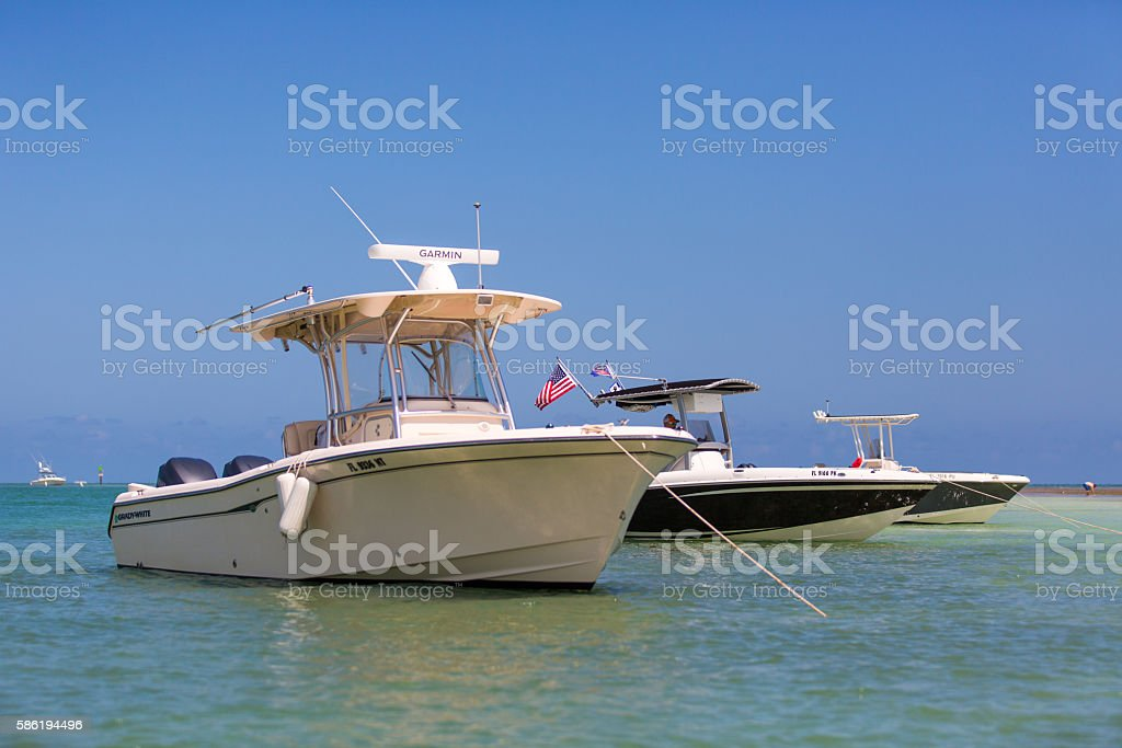 Small boats anchored stock photo