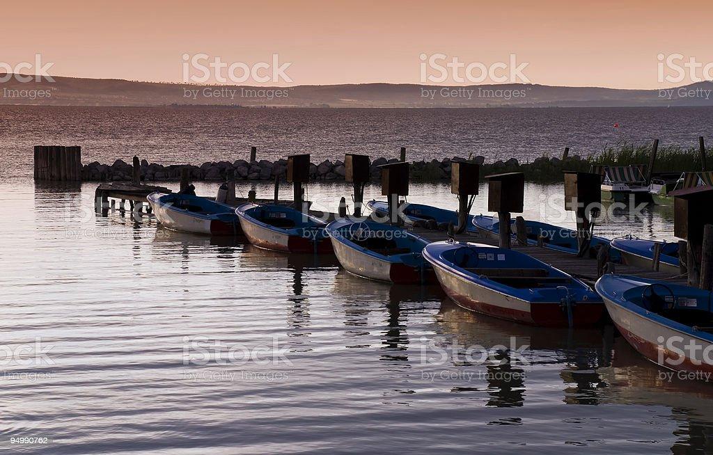 Small boats at a lake royalty-free stock photo