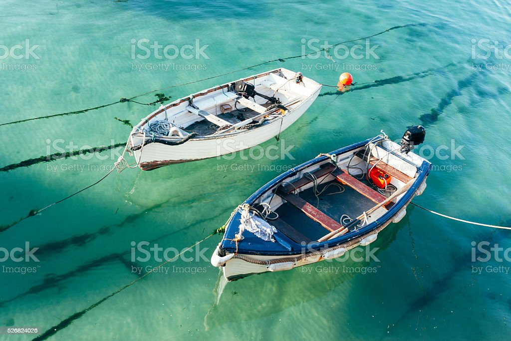 Small boats at Harbour beach in St Ives, Cornwall stock photo