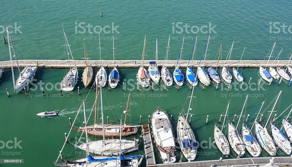 Small boats at San Giorgio island in Venice Lizenzfreies stock-foto