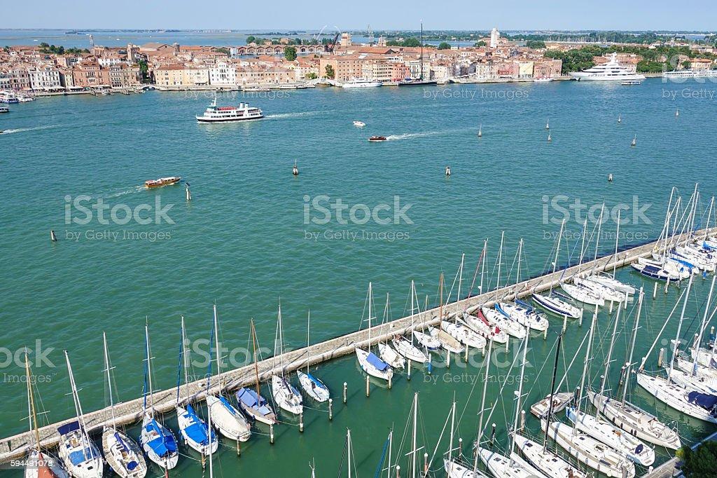 Small boats at San Giorgio island in Venice Lizenzfreies stock-foto
